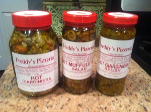 Hot giardiniera hot relish and hot muffuletta from Freddy's Pizza and Deli in Cicero Il