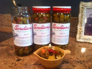 Homemade hot giardiniera bottles