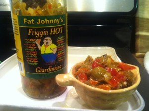 See Fat Johnny's Giardiniera up close in serving dish