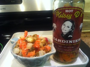 Kelsey Ds in a bowl - one of our favorite giardinieras