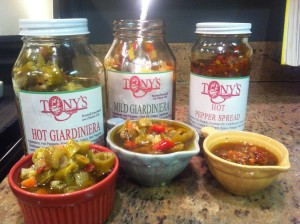 3 kinds of Tony's Giardiniera: hot, mild and hot pepper mix