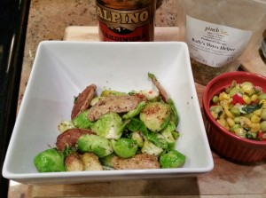 Spicy and garlicy potatoes and brussels sprouts